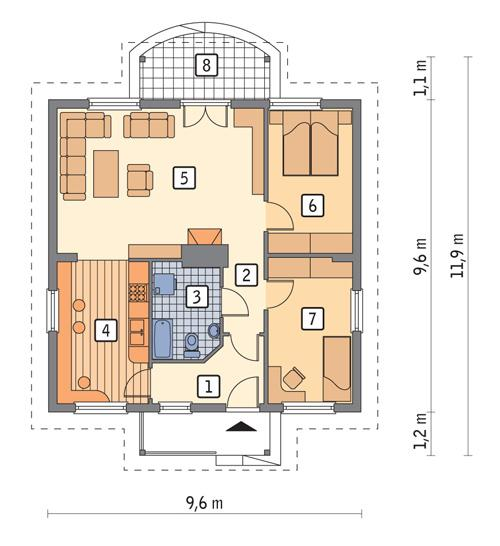 Rzut parteru POW. 72,5 m²