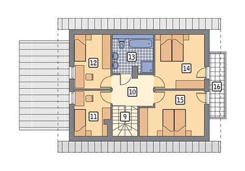 Rzut poddasza: wariant 1 POW. 68,8 m²