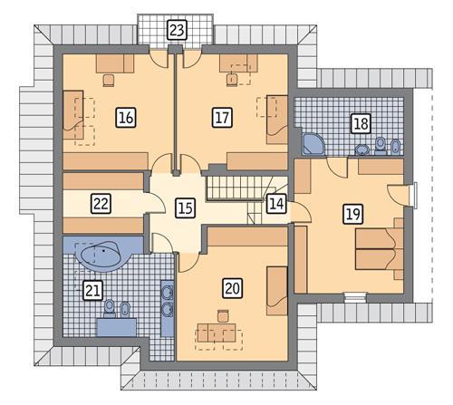 Rzut poddasza POW. 147,4 m²