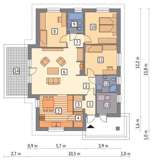 Rzut parteru POW. 104,7 m²