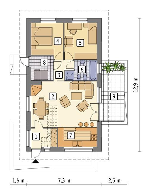 Rzut parteru POW. 75,6 m²