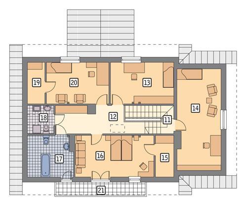 Rzut poddasza POW. 121,9 m²