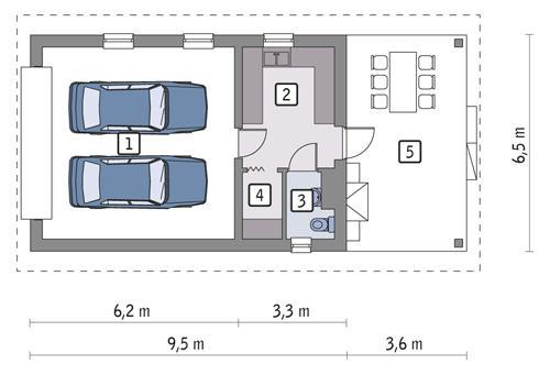 Rzut parteru POW. 47,3 m²