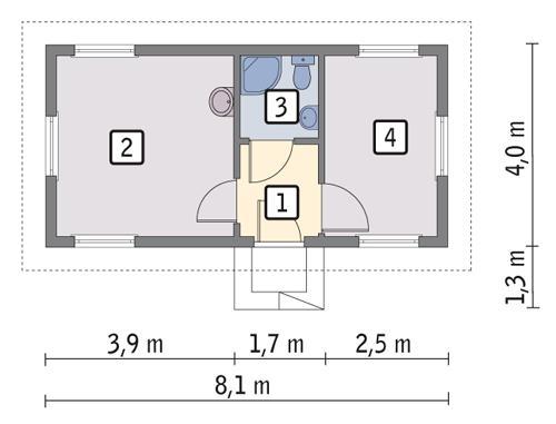 Rzut parteru POW. 26,6 m²