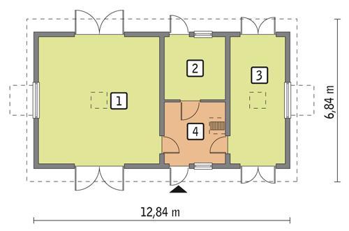Rzut parteru POW. 74,2 m²