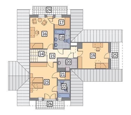 Rzut poddasza POW. 106,1 m²