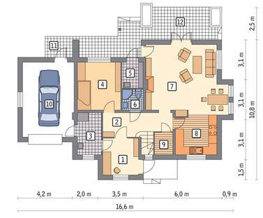 RZUT PARTERU POW. 81,1 m²